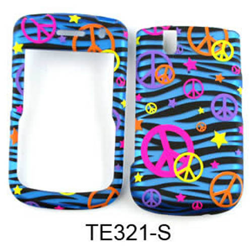 trans design colorful peace signs on blue zebra